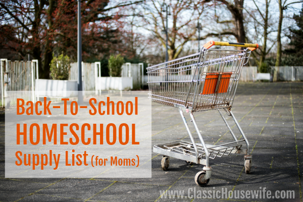 Back to HOMESCHOOL supply shopping list