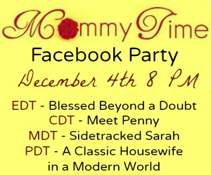 RSVP for the Mommy Time Facebook Party on December 4th and Enter to Win These Prizes