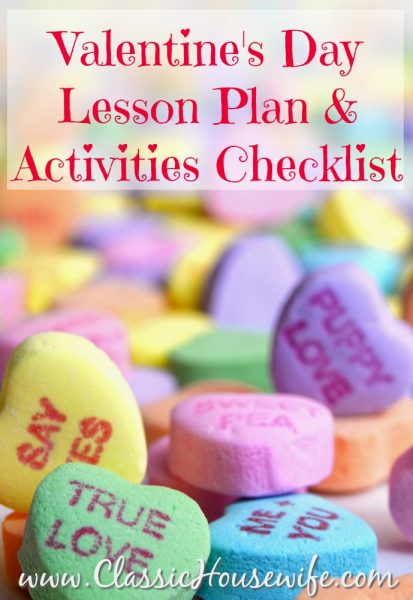 Valentines Day Lesson Plan and Activities Checklist