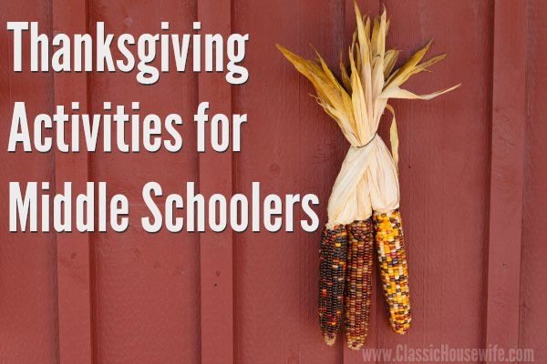 Thanksgiving Activities for Middle Schoolers